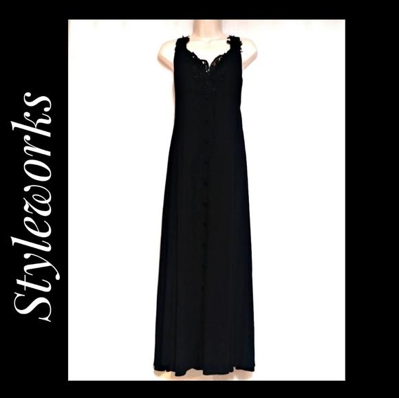 Styleworks Boho Black Gauze Maxidress Size 8 NWOTS